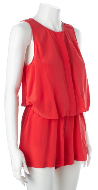 PARKER Red Silk Sleeveless Faux Layered Romper