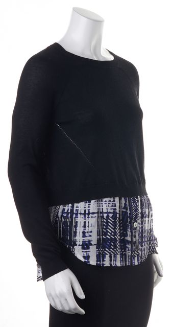 PARKER Black Blue Abstract Layered Silk Crewneck Sweater