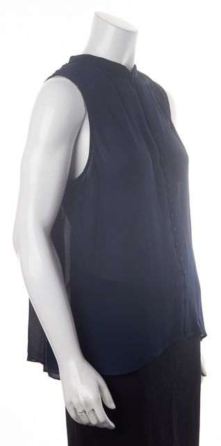 PARKER Navy Blue Sleeveless Button Front Bead Embellished Silk Blouse Top