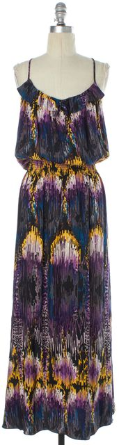 PARKER Purple Blue Yellow Grey Abstract Print Silk Blouson Maxi Dress
