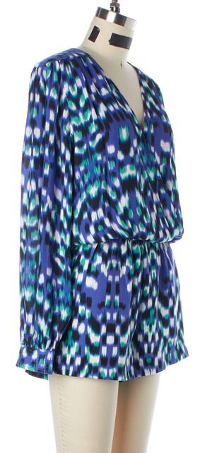 PARKER Blue Green White Black Abstract Print Silk Jumpsuit/ Romper