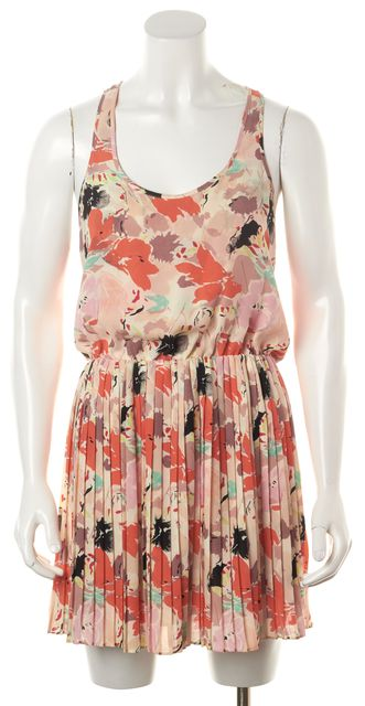 PARKER Pink Orange Beige Floral Printed Sleeveless Pleated Blouson Dress
