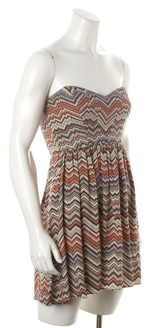 PARKER Orange Multi Tribal Print Silk Strapless Fit & Flare Dress