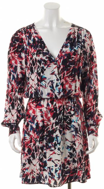 PARKER Red Black White Blue Abstract Print Silk Open Back Blouson Dress