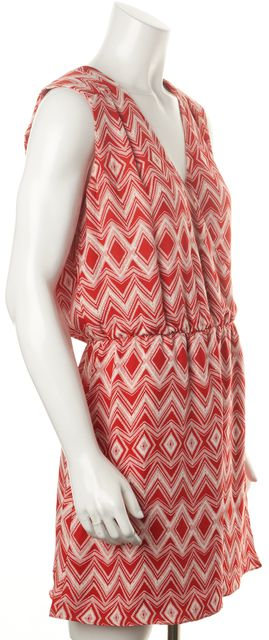 PARKER Red White Chevron Diamond Printed Silk Wrap Blouson Mini Dress