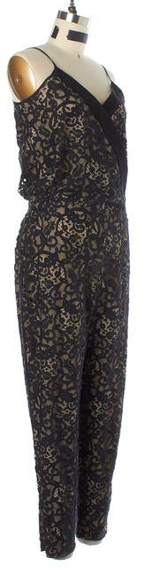PARKER Black Beige Lace Overlay Spaghetti Strap Jumpsuit