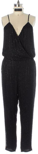 PARKER Black Bead Embellished Silk Spaghetti Strap Jumpsuit