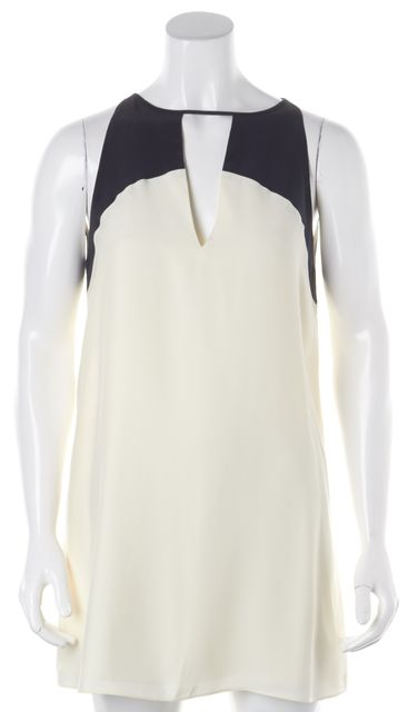 PARKER White Black Colorblock Silk Above Knee Shift Dress