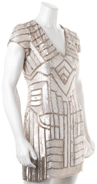 PARKER Ivory Sequin Bead Embellished Silk V-Neck Sheath Dress