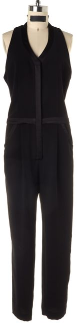 PARKER Solid Black Sleeveless Button Up Jumpsuit