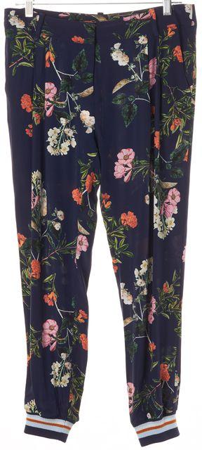 PARKER Blue Silk Floral Jogger Pants