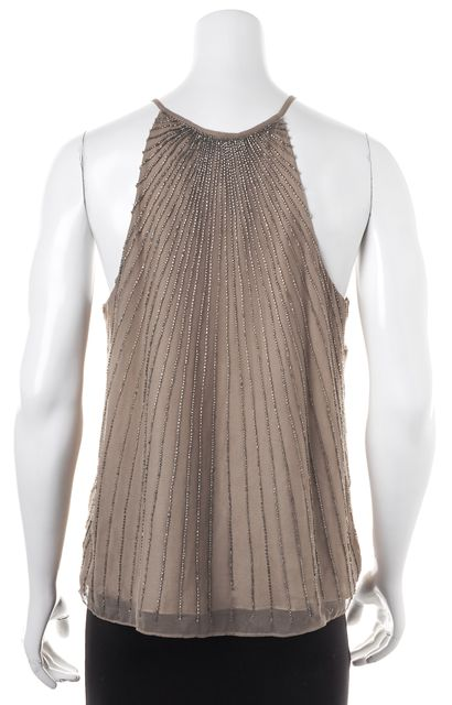 PARKER Beige Bead Embellished Silk Tank Top