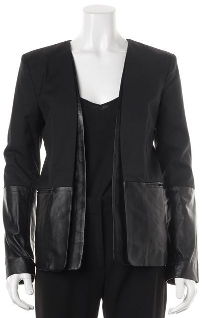 PARKER Black Leather Trim Pocket Front Open Blazer