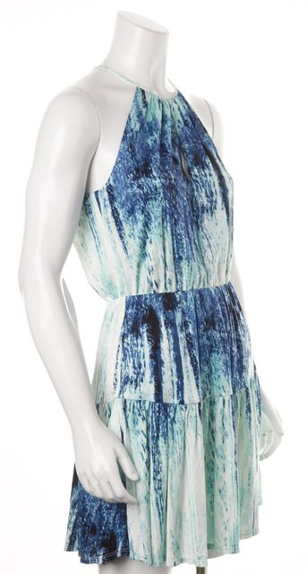 PARKER Blue White Navy Abstract Print Fit & Flare Halter Dress