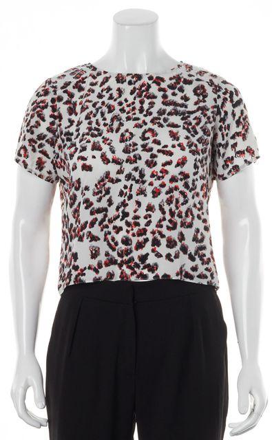PARKER White Red Leopard Animal Print Silk Short Sleeve Blouse Top