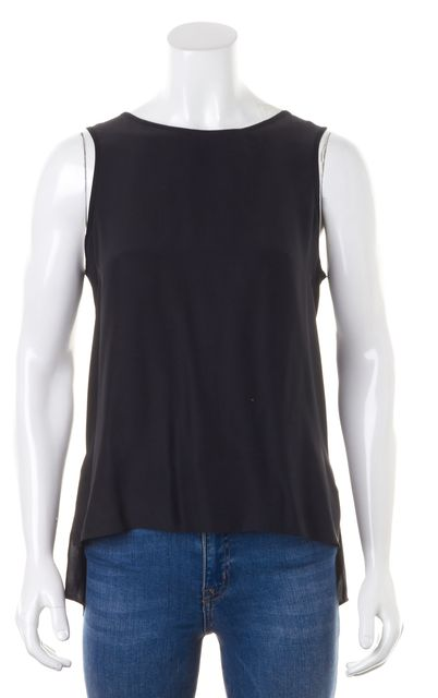 PARKER Black Ivory Colorblock Elastic Open-Back Silk Top