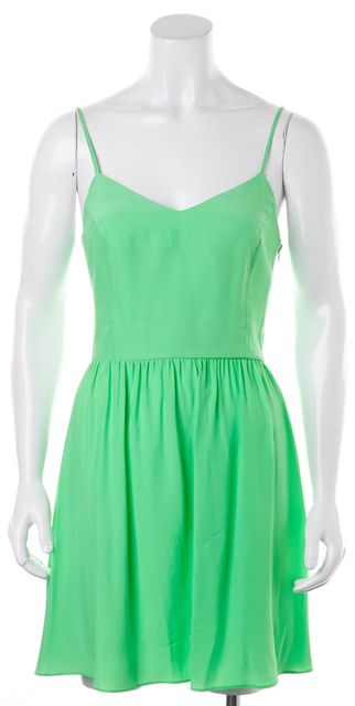 PARKER Seafoam Green Satin Silk Open Back Fit & Flare Summer Dress