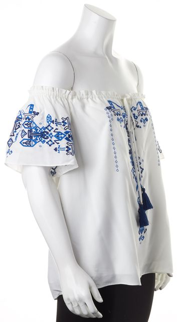 PARKER White Blue Geometric Embroidered Off-Shoulder Peasant Top