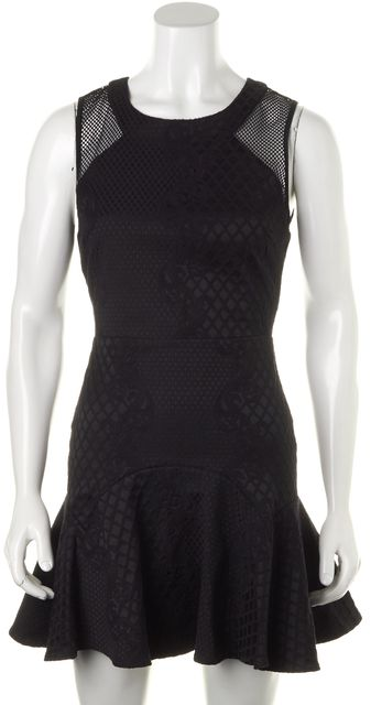 PARKER Solid Black Embroidered Mesh Shoulder Fit & Flare Dress