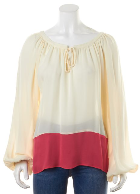 PARKER Ivory Hot Pink Color-Block Crepe Silk Long Sleeve Blouse
