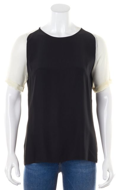 PARKER Black White Color Block Short Sleeve Casual Crepe Silk Blouse Top