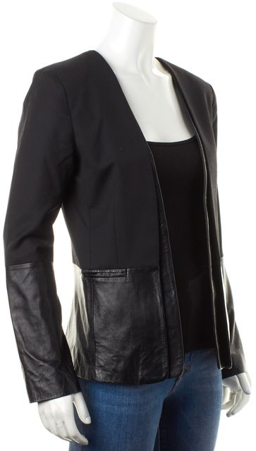 PARKER Black Wool Leather Trim Layered Open Blazer Jacket