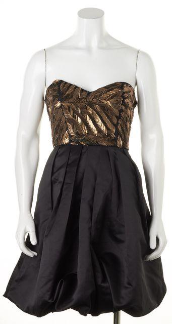 PARKER Black Bronze Leaf Embellished Strapless Fit & Flare Dress