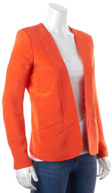 PARKER Bright Neon Orange Silk Open Career Blazer