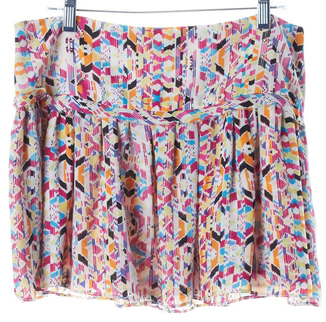PARKER Pink Multi-Color Abstract Printed Pleated Micro Mini Skirt