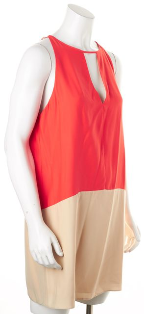 PARKER Orange Beige Color Block Silk Sleeveless Shift Dress