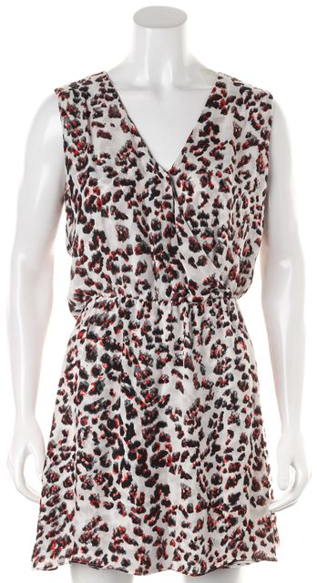 PARKER White Pink Leopard Print Silk Sleeveless Cutout Back Blouson Dress