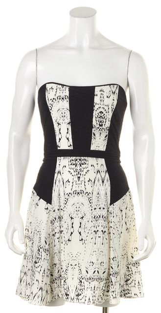 PARKER White Black Abstract Silk Strapless Fit & Flare Dress