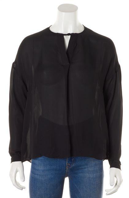 PARKER Black Silk Long Sleeve V-Neck Sheer Blouse