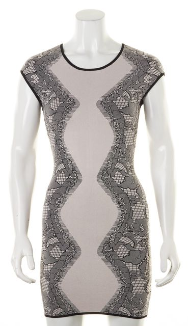 PARKER Blush Pink Black Abstract Cap Sleeve Bodycon Dress