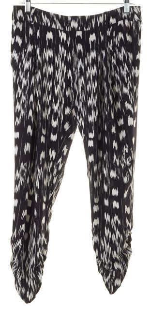 PARKER Black White Abstract Silk Cropped Casual Pants