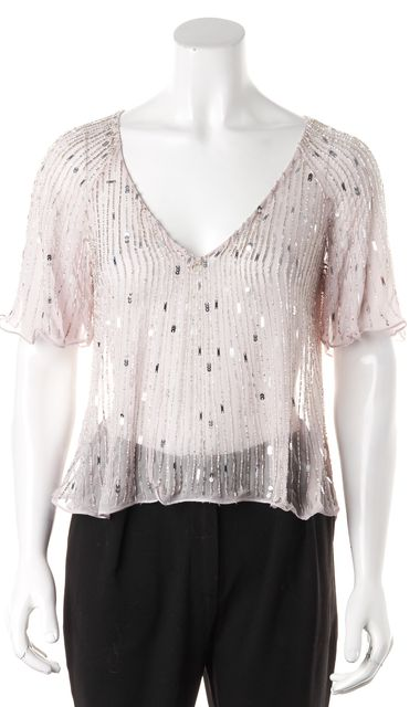 PARKER Pink Silver Sheer Sequin Bead Embellished Silk Blouse