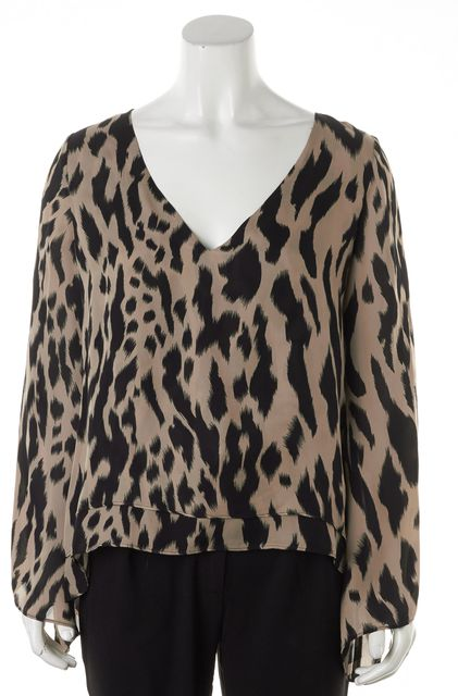 PARKER Brown Black Animal Print Long Sleeve Silk Blouse