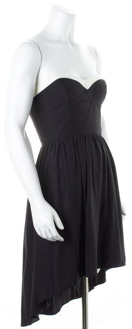 PARKER Black White Silk Strapless High-Low Fit & Flare Dress