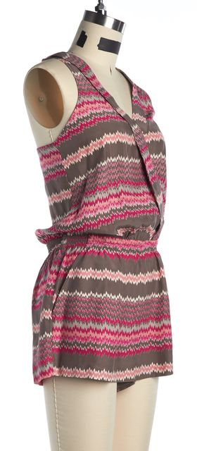 PARKER Gray Pink Zig Zag Striped Silk Romper