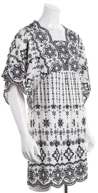 PARKER White Black Lace Embroidered Shift Empire Waist Dress