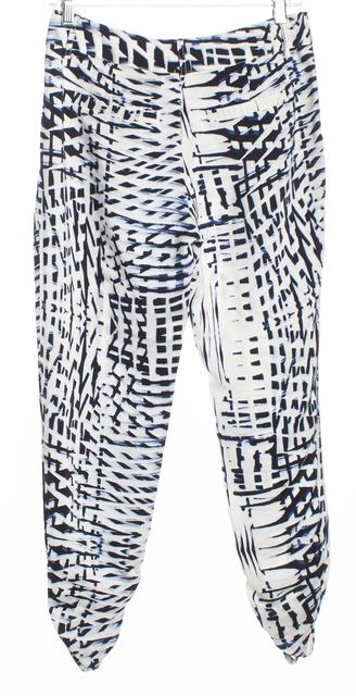 PARKER White and Navy Blue Abstract Ankle Ruched Silk Casual Pants