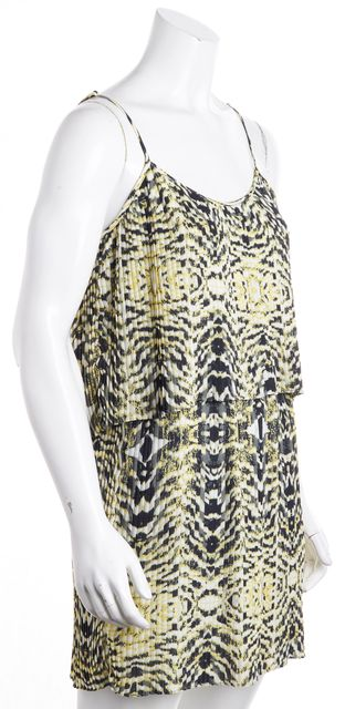 PARKER Yellow Black White Animal Print 2 Layer Plated Flare Dress