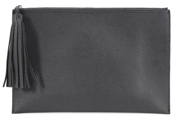 PARKER Black Leather Fringe Zipper Clutch
