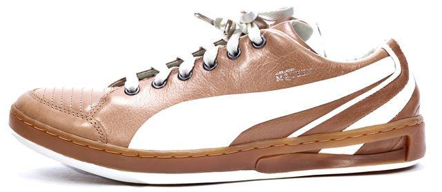 PUMA BY ALEXANDER MCQUEEN Brown White Leather Sneakers
