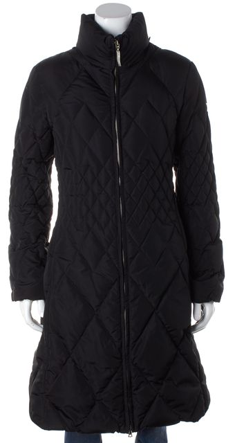 POST CARD Black Quilted Long Basic Coat