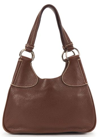 PRADA Brown Pebble Leather Contrast Stitching Shoulder Bag