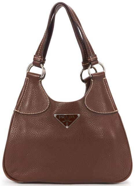 PRADA Brown Pebble Leather Contrast Stitching Shoulder Bag