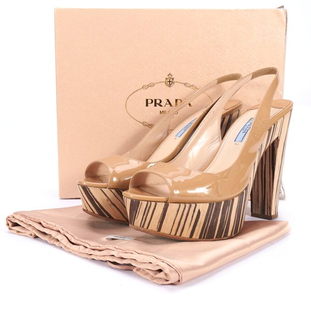 PRADA Beige Patent Leather Slingback Wood Platform Heels