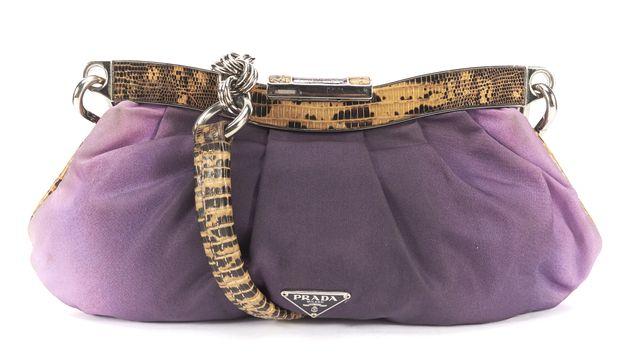 PRADA Purple Ombre Silk Brown Lizard Trimmed Small Shoulder Handbag