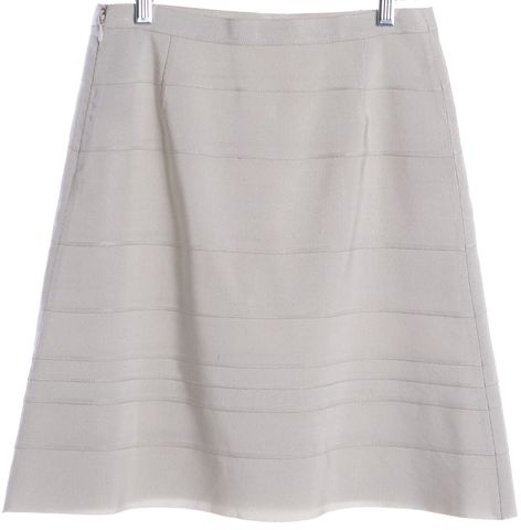 PRADA Light Gray Grosgrain A-Line Skirt